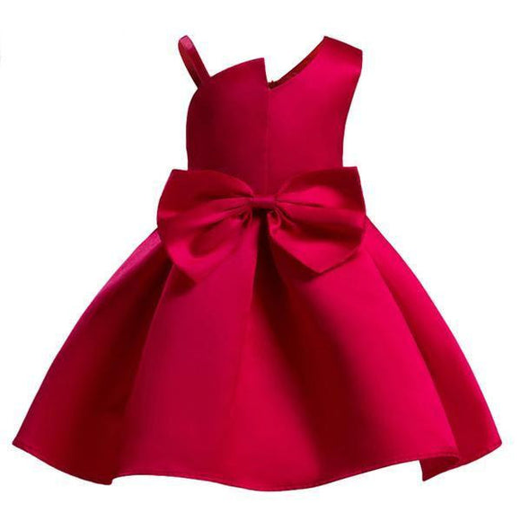 Lovely Red/Blue Satin Flower Girl Dress (3-10 Years) - little-darling-fashion-online