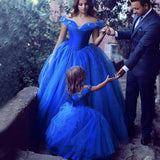Cinderella Cute Royal Blue Off Shoulder Ball Gown Girl by PickAProduct