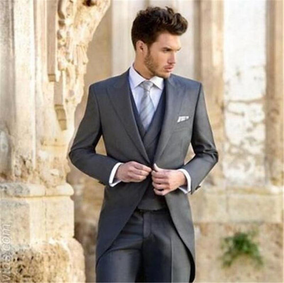 Classic Grey Groom Tuxedos (Jacket+Pant+Vest+Tie)