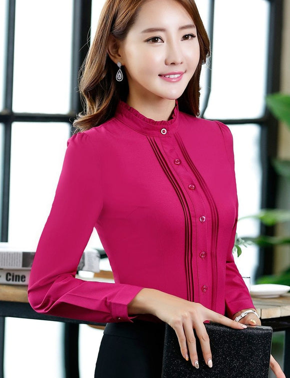 Women Autumn Stand Collar Fashion Office Shirt - little-darling-fashion-online