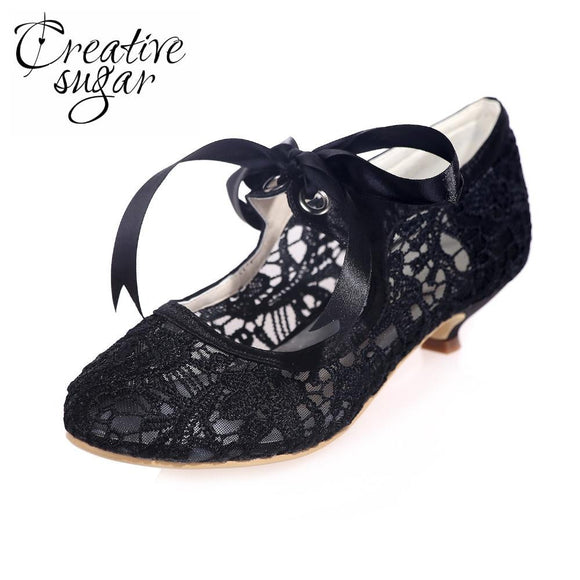 Creativesugar Lace Vintage Kitten Heel Shoes by Pick a Product