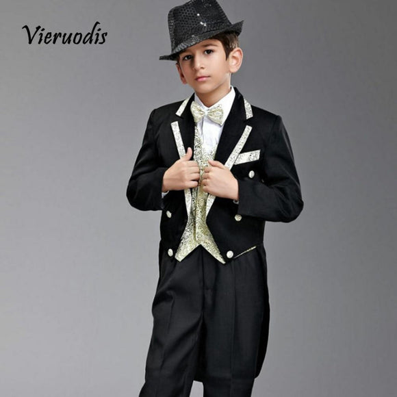 Boys Wedding Black Suits with Gold Lapel