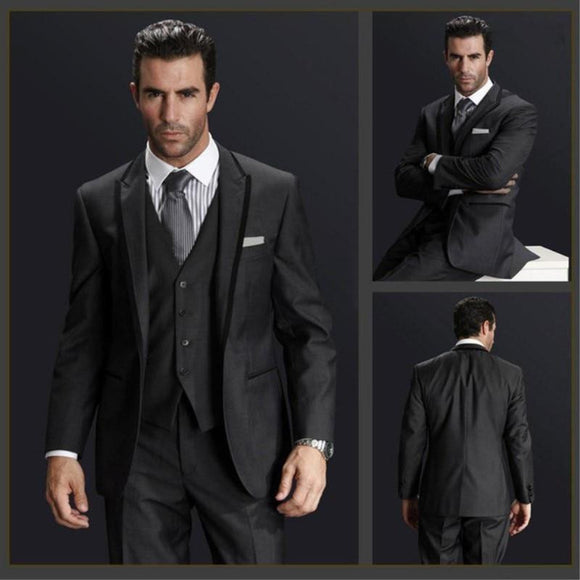 Custom Made Dark Gray Men Wedding Suit