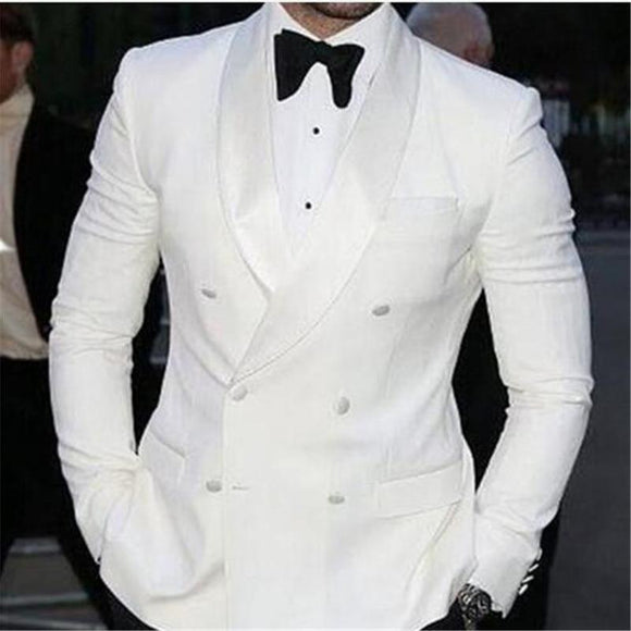 White Double Breasted Terno Groom Wedding Suits - little-darling-fashion-online