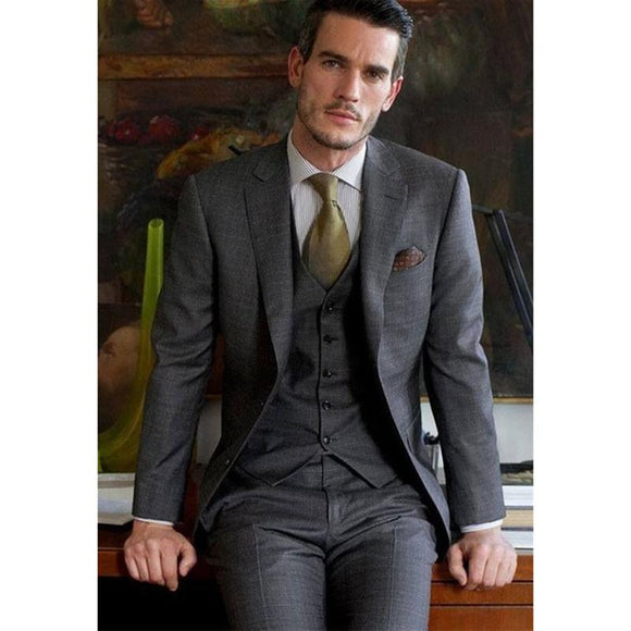 Custom made grey gap Lapel LAPEL men suit two button best mens suits