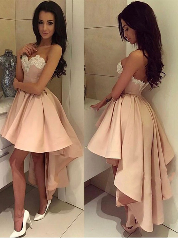 Cute Knee-Length High-Low Sleeveless Satin Ball Gown by PickAProduct