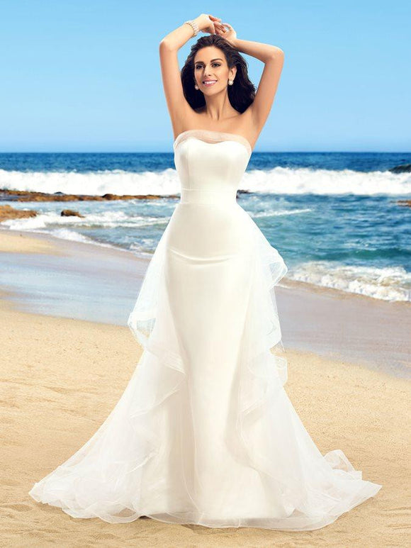 Dazzling Strapless Ruffles Tulle Ivory Mermaid Wedding Dresses