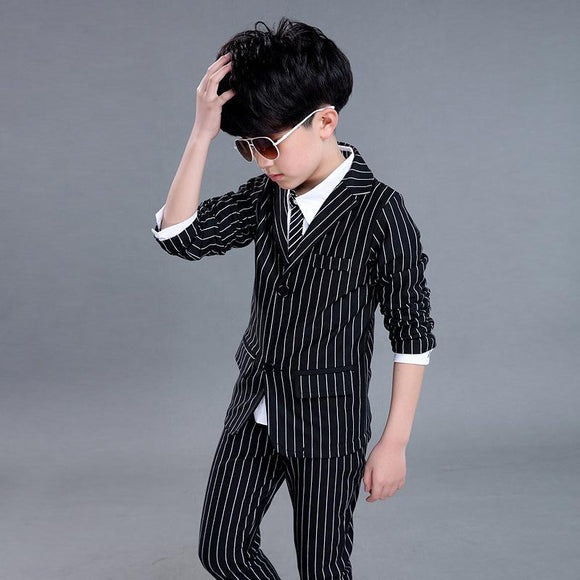 Boys Suits 2PCS Wedding Black and White Striped - little-darling-fashion-online