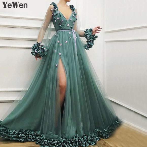 Dubai Long Sleeves Green Evening Dresses 2019 - little-darling-fashion-online