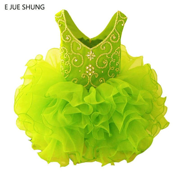 Lemon Green Organza Mini Flower Girl Dresses