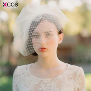 Elegant Ivory Birdcage Net Wedding Hats Bridal Fascinator Face Veils Feather Flower with Hairpin Bridal Hat