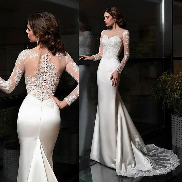 Elegant Satin Bateau Neckline Sheath Wedding Dresses by Pick a Product