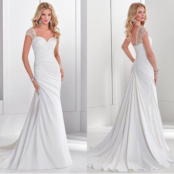 Elegant Sweetheart White Ruched Wedding Dress by Pick a Product