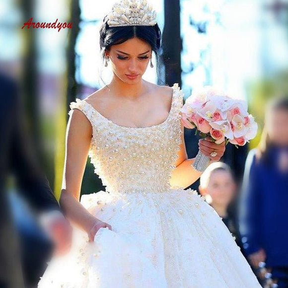 Elegant Wedding Dresses Ball Gown Pearls