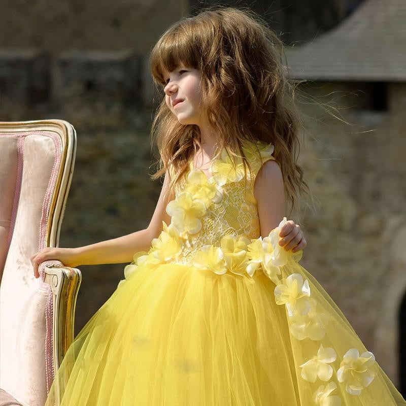 2612af9267d ... Elegant Yellow 2018 Flower Girl Dresses For Weddings Ball Gown Tulle  Lace Baby Long First Communion ...