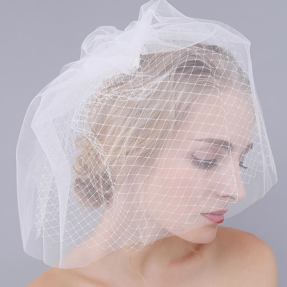 Elegant Bridal Birdcage Face Veils with Hairpin by PickAProduct