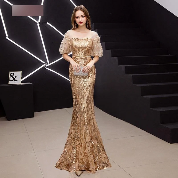 Elegant Gold Sequins Puff Sleeve Prom Dresses by PickAProduct