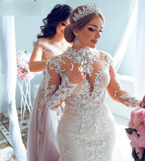 Elegant High-Neck Lace Appliques Mermaid Bridal Dress