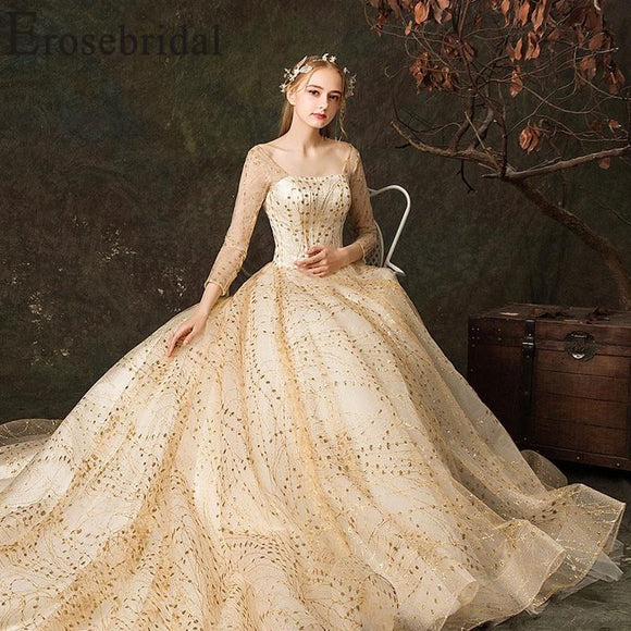 Gold Lace Up Back Ball Gown Wedding Dress 2019