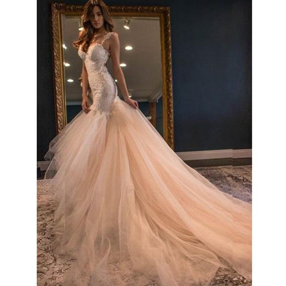 Fabulous Mermaid Sheath Open Back Tulle Lace Wedding Dress