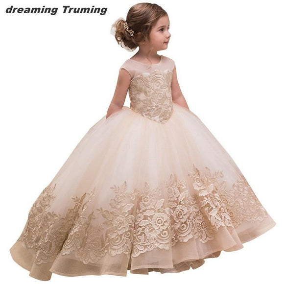 Fancy Puffy Champagne Pageant Dresses for Girls