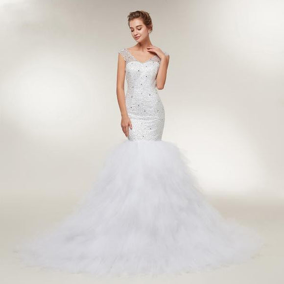 V-Neck Beaded Mermaid Wedding Dress by Pick a Product
