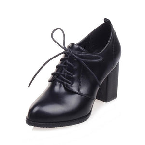 Fanyuan Black White high Heels women Oxford shoes Spring 2018 comfort Office lady Thick heels mature Pointed toe Lace-up Pumps