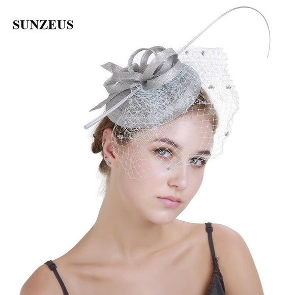 Fascinators Bridal Hat with Face Veil Graceful Wedding Hair Accessories Linen Flowers Women's Party Hats chapeu casamento SH56 - little-darling-fashion-online