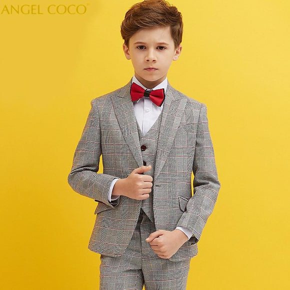 Fashion British Lattice Boys Wedding Suit - little-darling-fashion-online