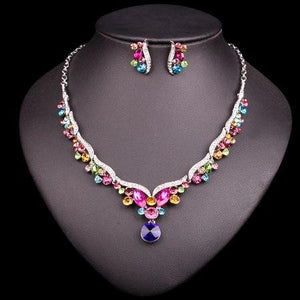 Colorful Crystal Jewellery Sets (Necklace+Earrings) by Pick a Product