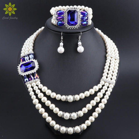 Fashion Imitation Pearl Dubai Necklace Earrings Bracelet Set