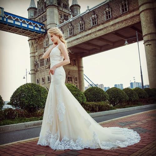 Fashionable Champagne Lace Mermaid Wedding Dress by Pick a Product