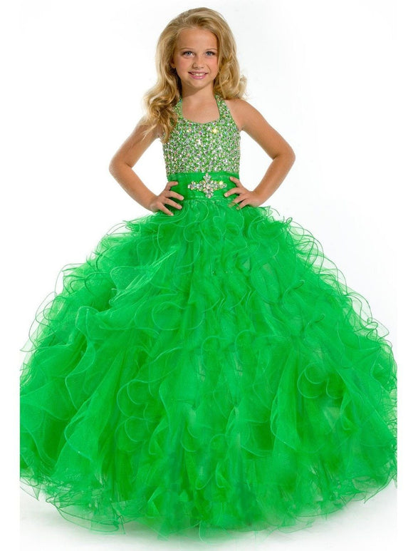 Floor Length Ball Gown Girl's Pageant Dresses