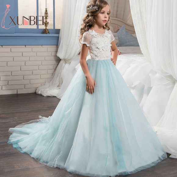Floor Length Princess Light Sky Blue Lace Flower Girl Dresses 2018 Applique Girls Pageant Dress First Communion Dresses