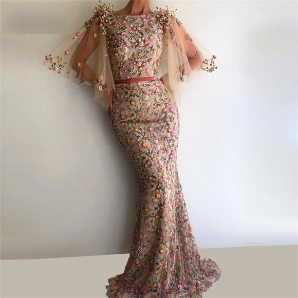 Abiye Mermaid Flower Embroidered Evening Dresses - little-darling-fashion-online