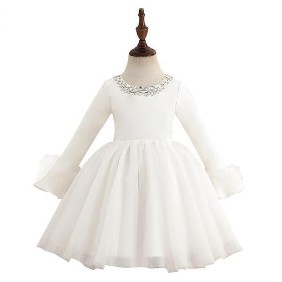 Elegant Crystal O-Neck Long Sleeve Flower Girl Dress by Pick a Product