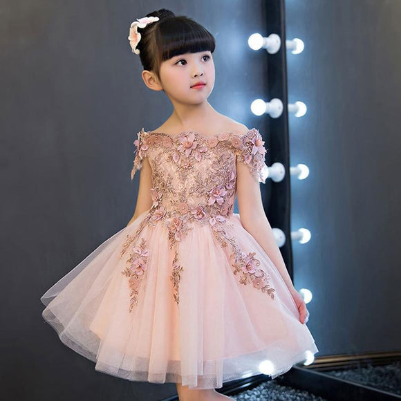 Flower Girl Shoulder Pink Wedding Dress Puffy by Pick a Product