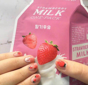 For Kids Strawberry Cream 3D False Sticker Nail Tips Free Glue Gel - little-darling-fashion-online