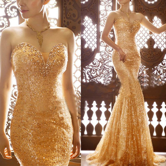 Formal Long Gold  Sequin Mermaid Prom Dress