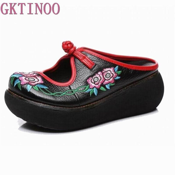 GKTINOO Embroidery Slippers Summer Genuine Leather Shoes Handmade Slides Flip Flop Platform Clogs For Women Wedges Slippers - little-darling-fashion-online
