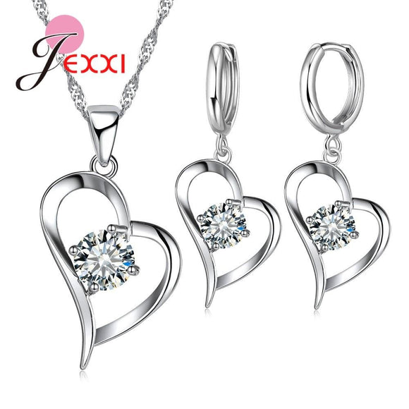 Giemi Top Quality 925 Silver Wedding Jewelry Sets Romantic for Women
