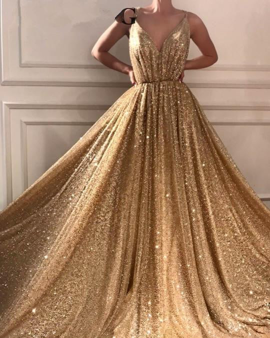 Gold A Line V Neck Evening Dresses 2019 - little-darling-fashion-online