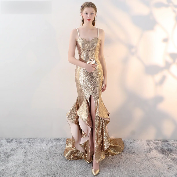 Arabic Sparkly Gold Sequins Prom Dresses - little-darling-fashion-online