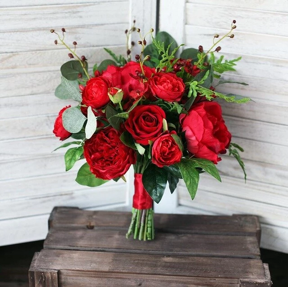 Graceful Red Peony Rose Bridal Bouquets by PickAProduct