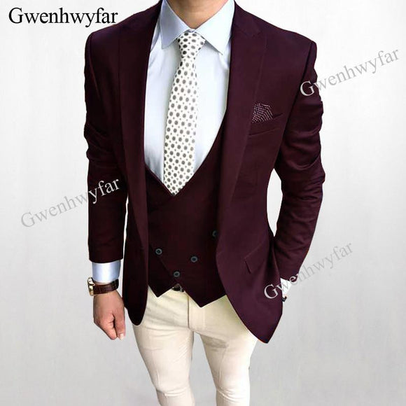 Gwenhwyfar Dark Burgundy Wedding Groom Tuxedos by Pick a Product