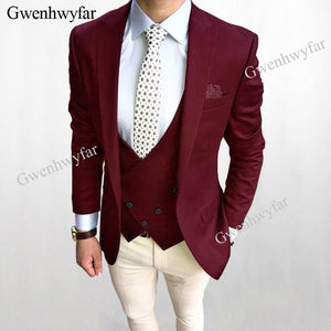 Gwenhwyfar BJ25 Dark Burgundy Wedding Groom Tuxedos Best Men Suits Retro Custom Slim Fit Three Piece Jacket Pants Vest Male Suit