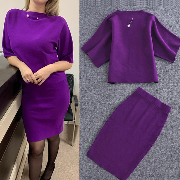 Knitted Purple 2 Pce Outfit Set for Women Top+Skirt - little-darling-fashion-online