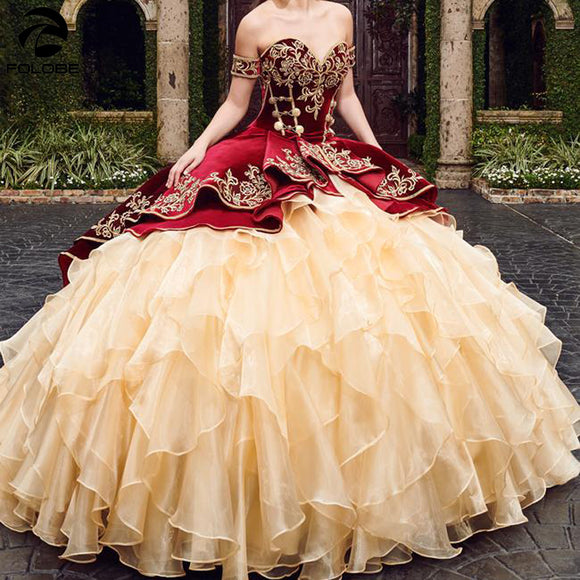 Sweetheart Burgundy Quinceanera Dress with Embroidery by PickAProduct