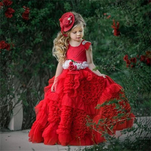 Lovely Red Ruffled Flower Girl Dress for Wedding by PickAProduct