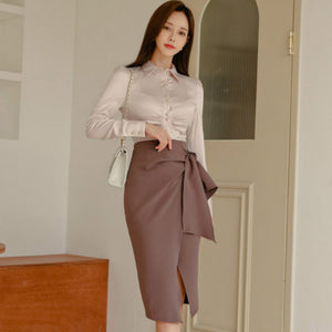 Spring Autumn Pencil Midi Skirt and Long Sleeve Blouse by PickAProduct
